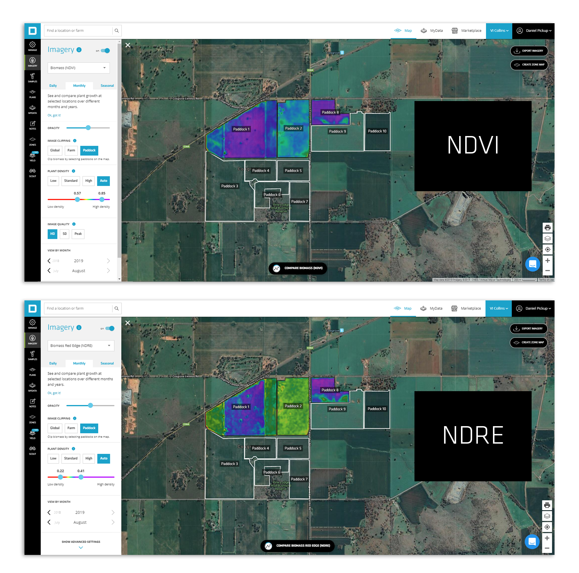 What is the difference between NDVI & NDRE imagery?